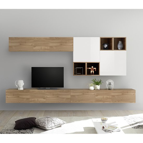Infra Large Entertainment Unit In Stelvio Walnut And Gloss White