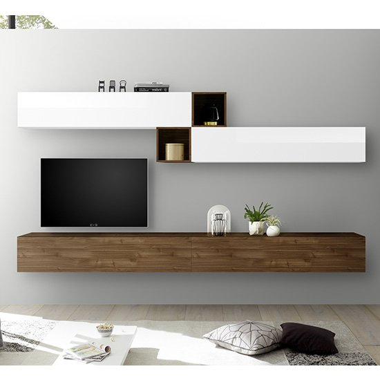 Infra TV Wall Unit With Shelves In White Gloss And Dark Walnut