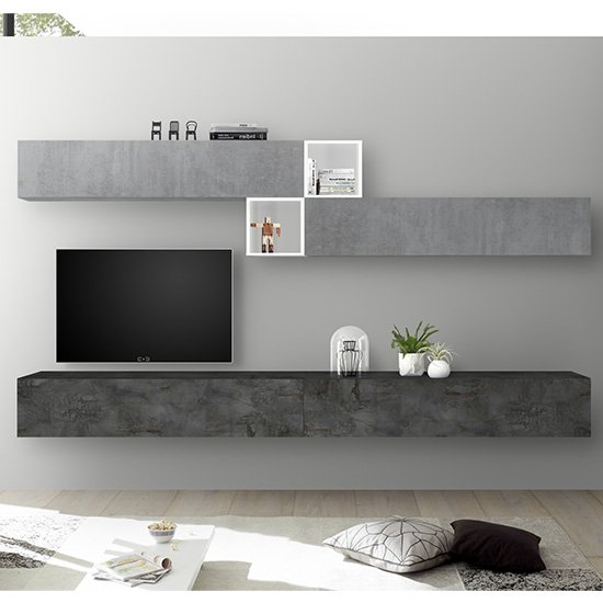 Infra TV Wall Unit With Shelves In White Gloss And Oxide