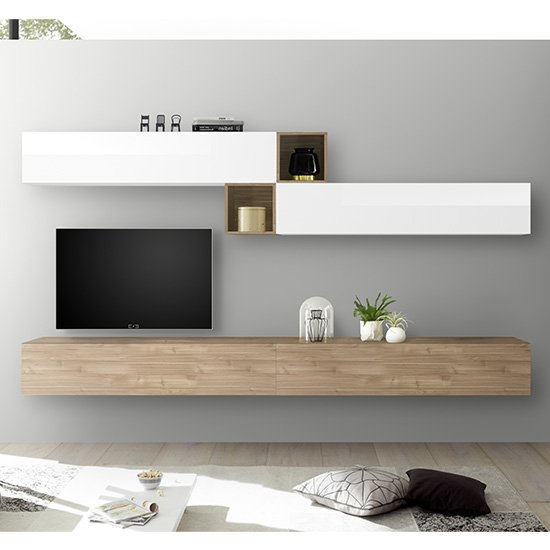 Infra TV Wall Unit And Shelves In White Gloss And Stelvio Walnut