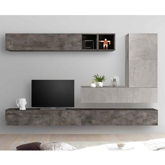 Infra TV Wall Unit With Storage In Cement Effect And Oxide