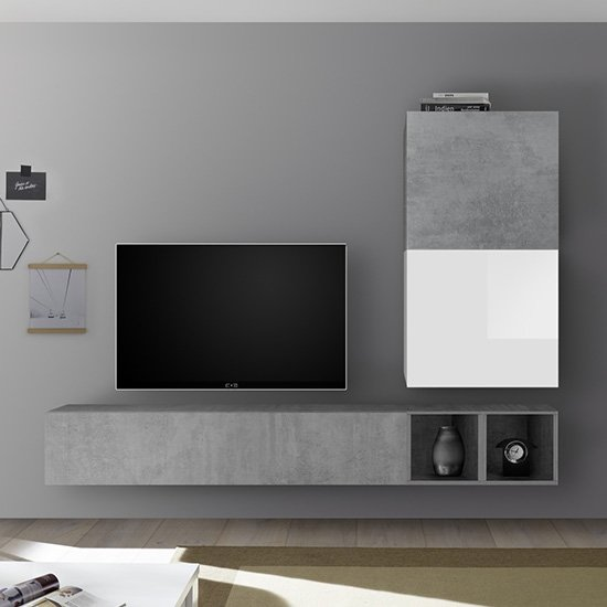 Infra Wall Entertainment Unit In White Gloss And Cement Effect