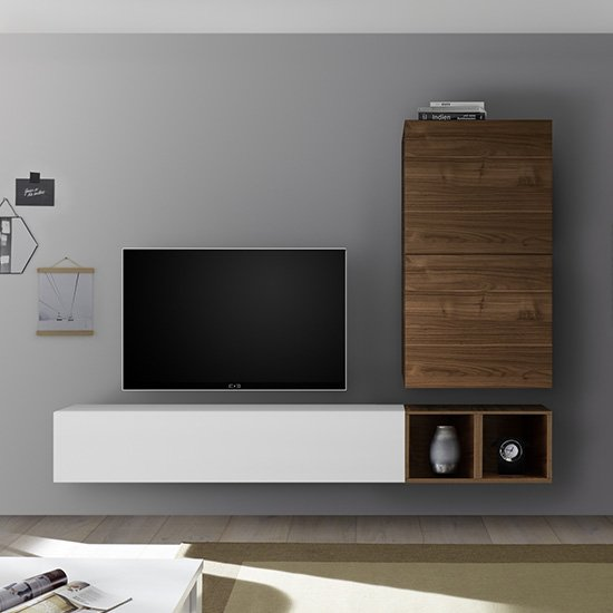 Infra Wall Entertainment Unit In White Gloss And Dark Walnut