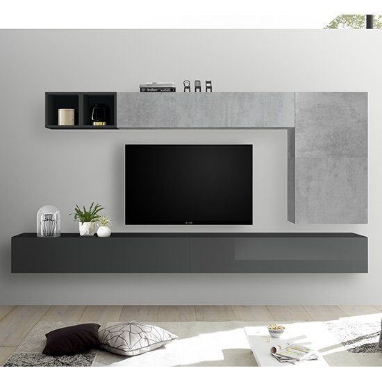 Infra Wall Entertainment Unit In Grey Gloss And Cement Effect