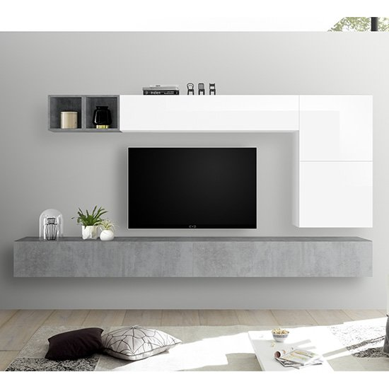 Infra Wall Entertainment Unit In Cement Effect And White Gloss