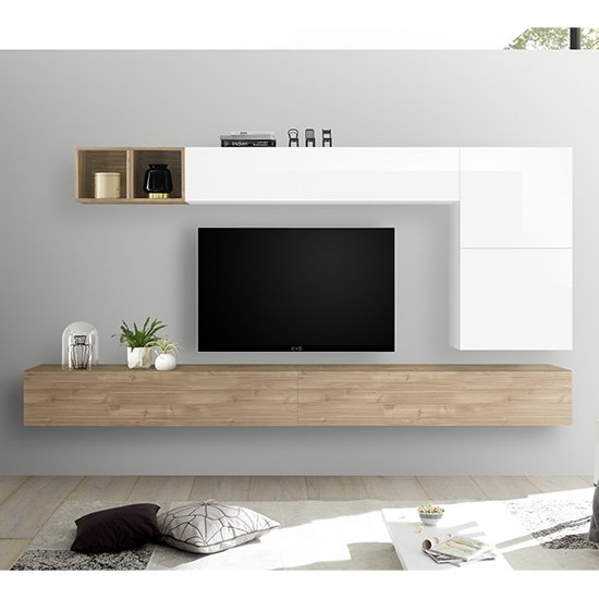 Product photograph showing Infra Wall Entertainment Unit In White Gloss And Stelvio Walnut