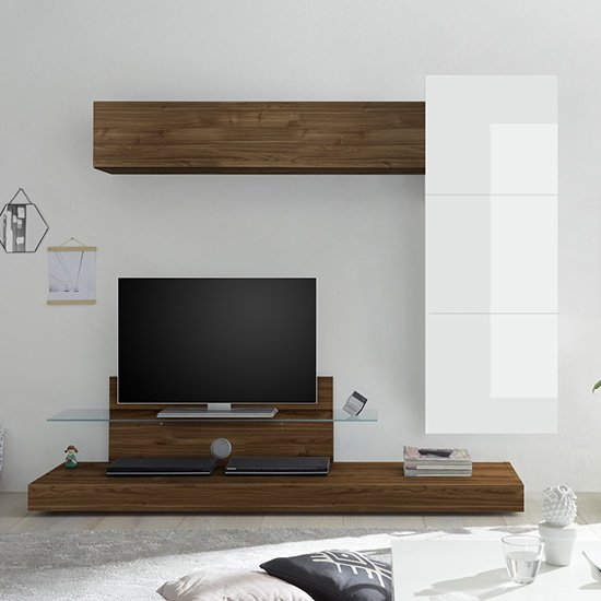 Infra TV Stand And Glass Shelf In White Gloss And Dark Walnut