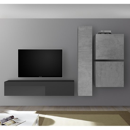 Infra Wall TV Unit And Storage In Grey Gloss And Cement Effect