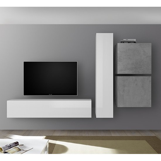 Infra Wall TV Unit And Storage In White Gloss And Cement Effect