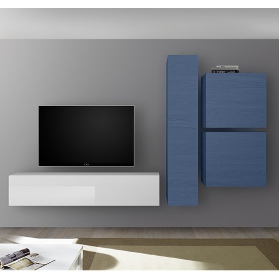 Infra Wall TV Unit And Storage In White High Gloss And Blue