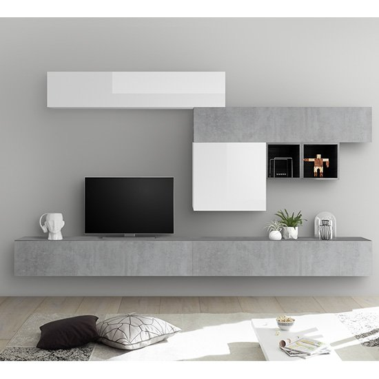 Infra Large Entertainment Unit In White Gloss And Cement Effect