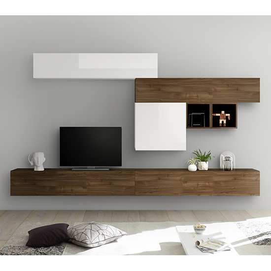 Infra Large Entertainment Unit In White Gloss And Dark Walnut