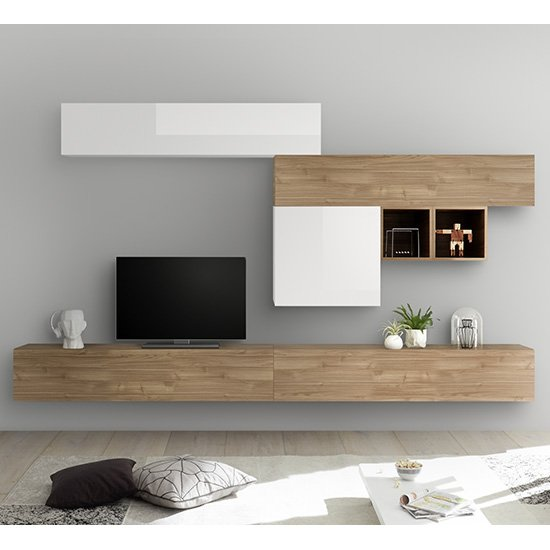 Infra Large Entertainment Unit In White Gloss And Stelvio Walnut
