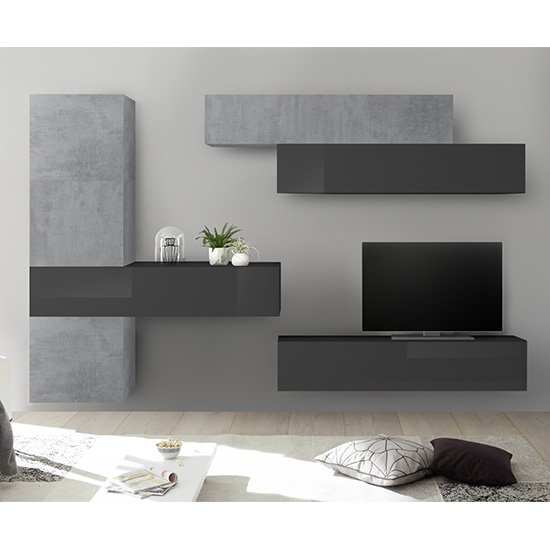 Infra Wall TV Unit With Storage In Grey Gloss And Cement Effect