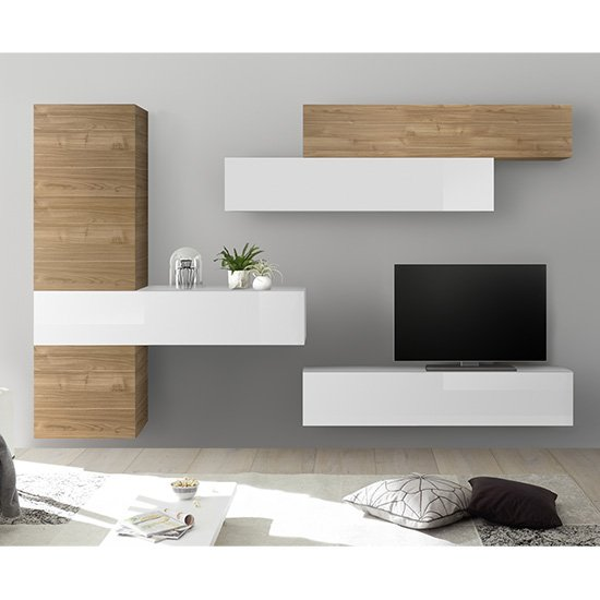 Infra Wall TV Unit With Storage In Grey Gloss And Stelvio Walnut