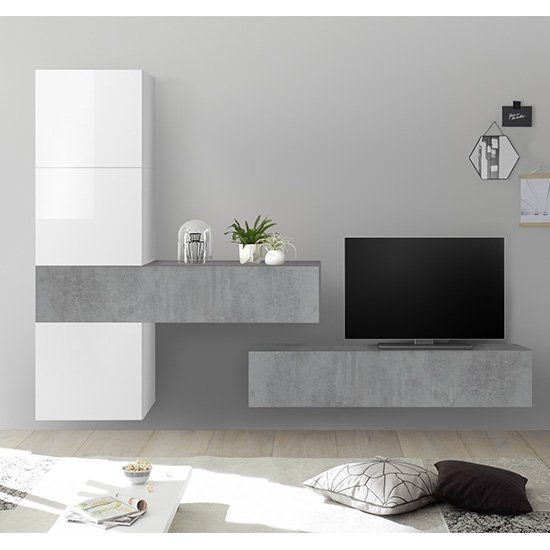 Infra Wall TV Unit With Storage In White Gloss And Cement Effect