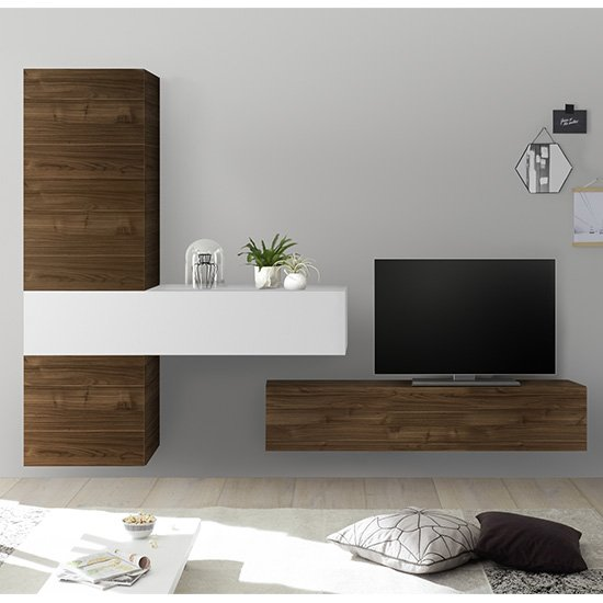Infra Wall TV Unit With Storage In White Gloss And Dark Walnut