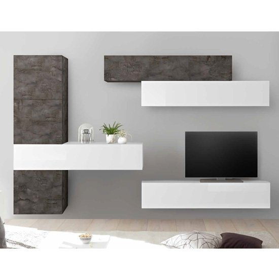Infra Wall Entertainment Unit In White Gloss And Oxide_1