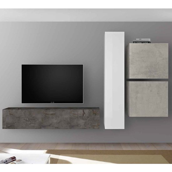 Infra Wall TV Unit With Shelves In Oxide And Cement Effect