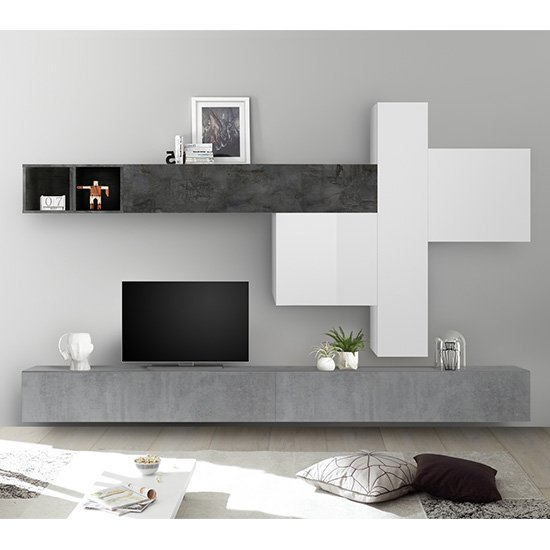 Infra White Gloss Large Entertainment Unit In Cement And Oxide