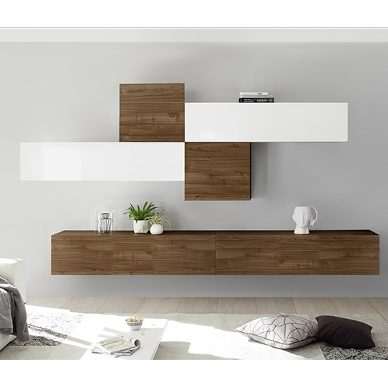 Infra Wall TV Unit In White High Gloss And Dark Walnut_1