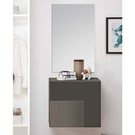 Infra Wooden Bathroom Furniture Set In Grey High Gloss