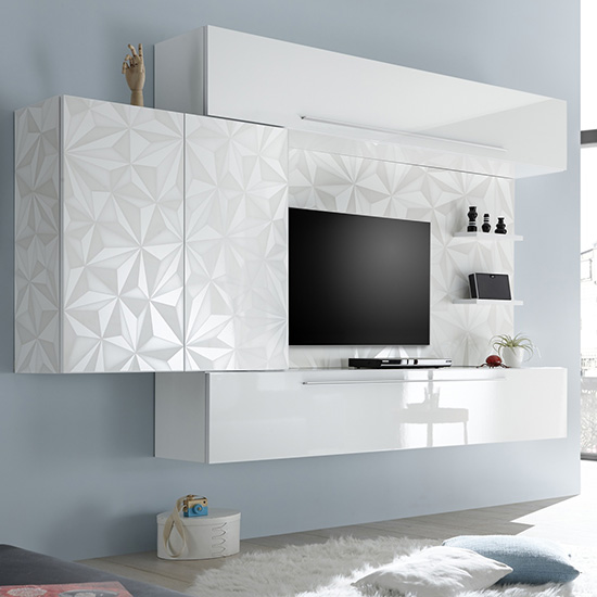 Infra Large Entertainment Unit In Serigraphed White High Gloss_2