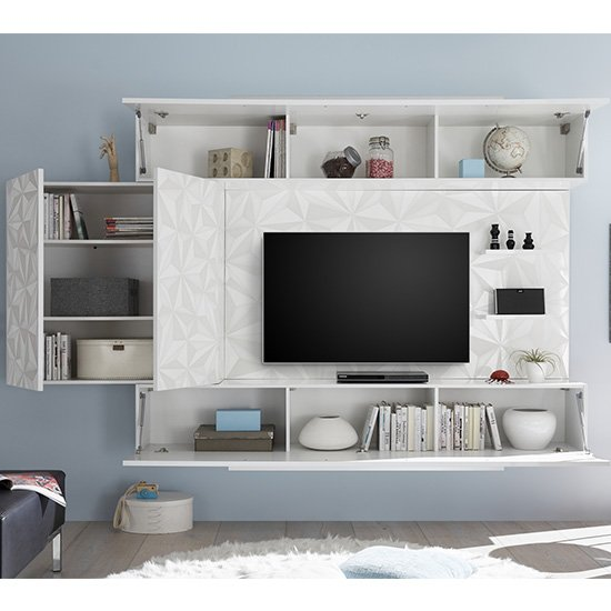 Infra Large Entertainment Unit In Serigraphed White High Gloss_4