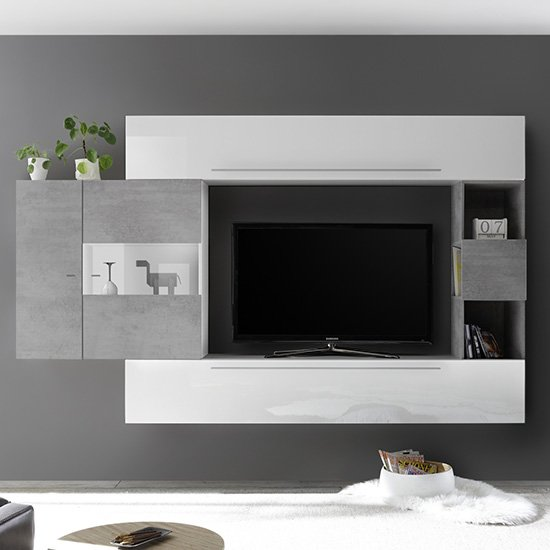 Infra Entertainment Unit In Cement Effect And White Gloss