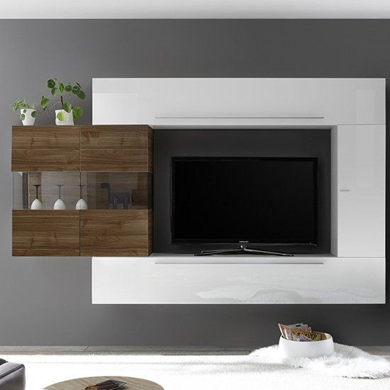 Infra Entertainment Unit In White Gloss And Dark Walnut