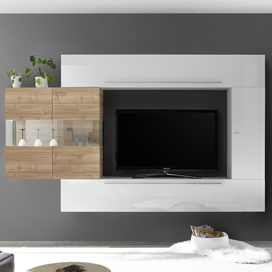 Infra Entertainment Unit In Stelvio Walnut And White Gloss
