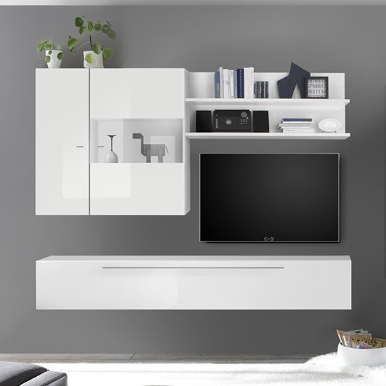 Infra Wooden TV Stand In White High Gloss