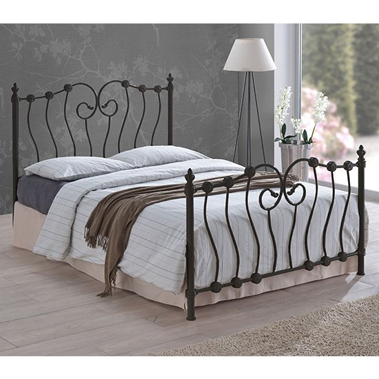 Product photograph showing Inova Designer Metal Small Double Bed In Black