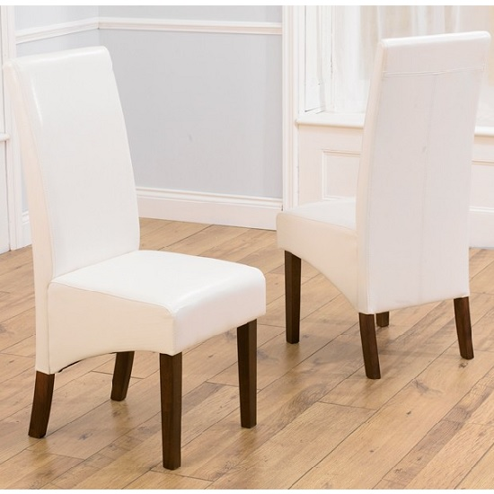 Inova Dining Chair In Ivory PU With Dark Walnut Legs In A Pair_1
