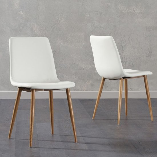 Inquill White Fabric Wooden Leg Dining Chairs In Pair