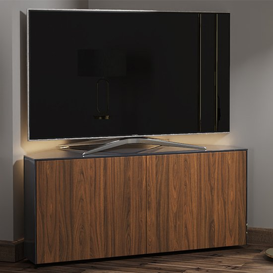 Intel Corner LED TV Stand In Black Gloss And Walnut