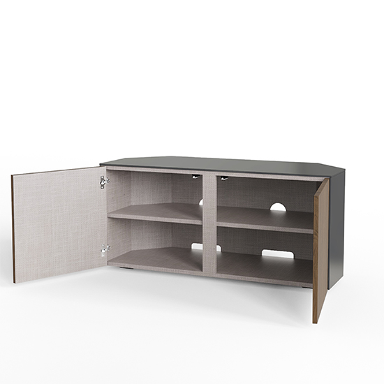 Intel Corner LED TV Stand In Grey Gloss And Walnut_3