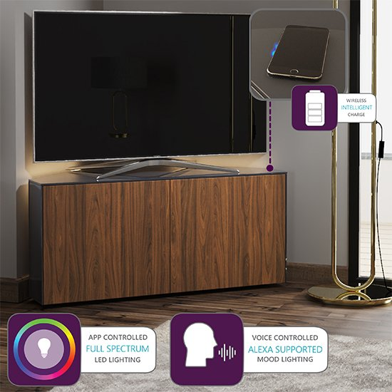 Intel Corner LED TV Stand In Grey Gloss And Walnut_4