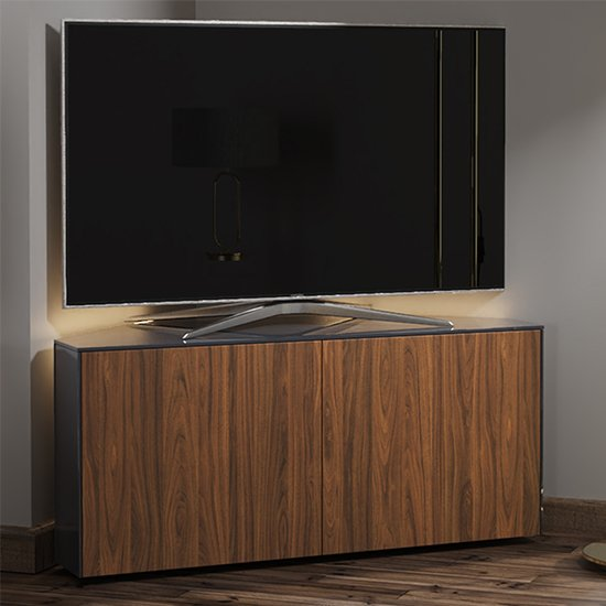 Intel Corner LED TV Stand In Grey Gloss And Walnut