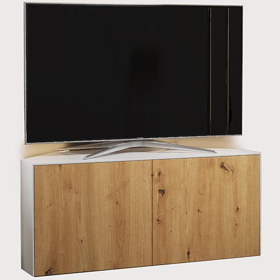 Intel Corner LED TV Stand In White Gloss And Oak_2