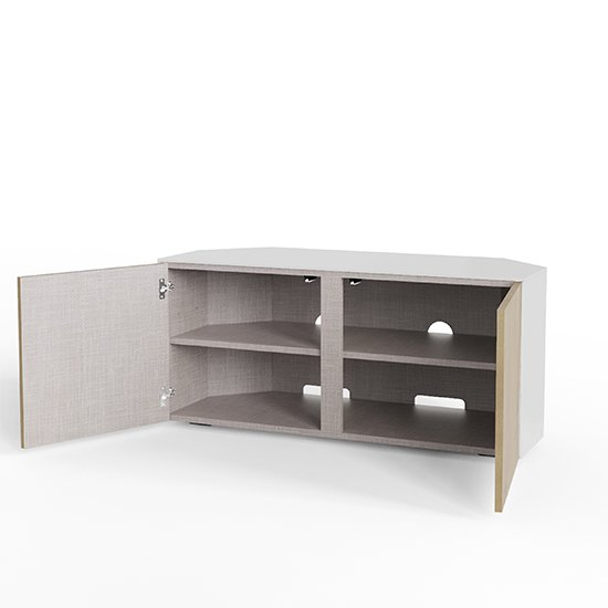 Intel Corner LED TV Stand In White Gloss And Oak_3