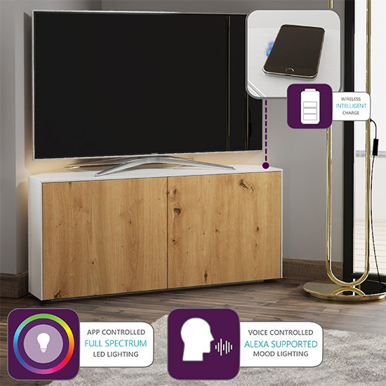 Intel Corner LED TV Stand In White Gloss And Oak_4