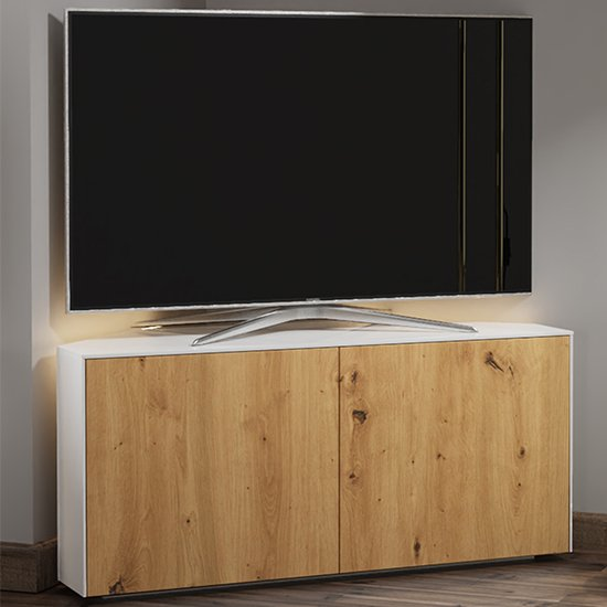 View Intel corner led tv stand in white gloss and oak