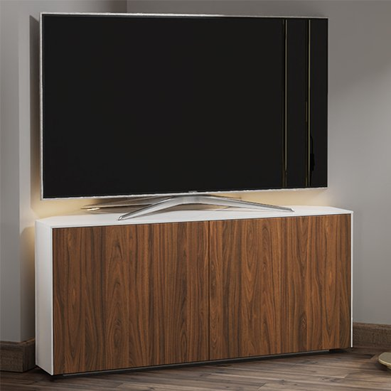 Intel Corner LED TV Stand In White Gloss And Walnut