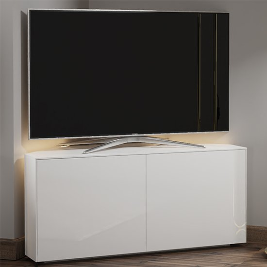 Intel Corner LED TV Stand In White Gloss With Wireless Charging