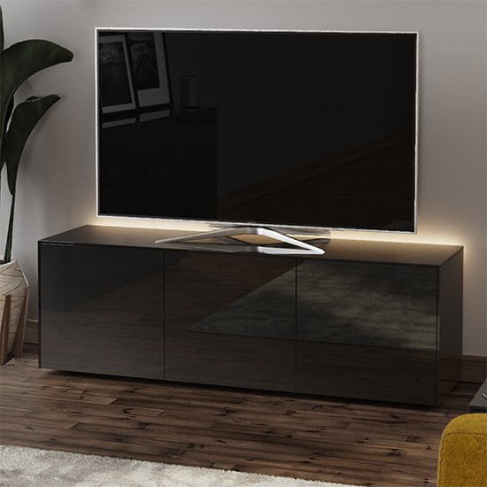Intel Large LED TV Stand In Black Gloss With Wireless Charging