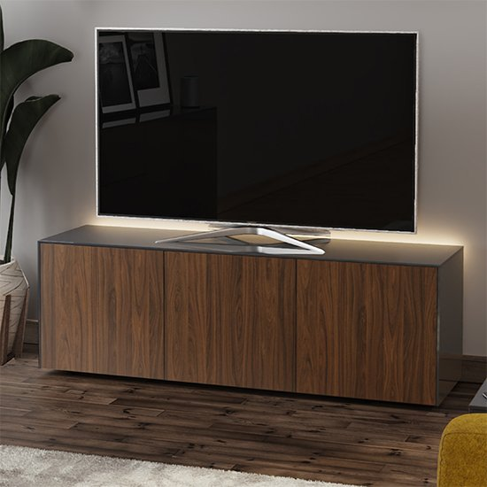 Intel Large LED TV Stand In Grey Gloss And Walnut
