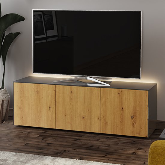 Intel Large LED TV Stand In Grey And Oak With Wireless Charging