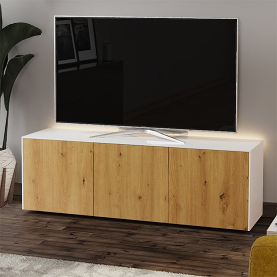 Intel Large LED TV Stand In White Gloss And Oak