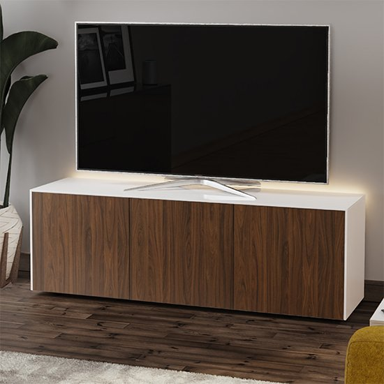 Intel Large LED TV Stand In White Gloss And Walnut